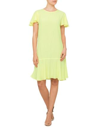 Peplum Crepe Dress