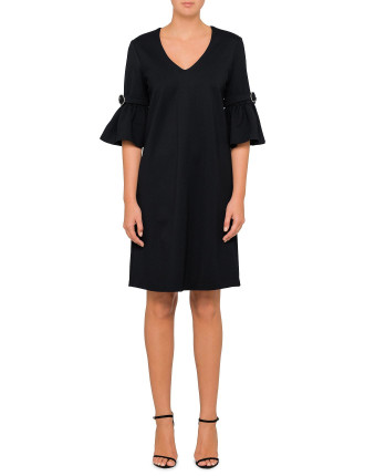 Flare Sleeve Shift Dress