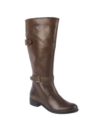 Leather Buckle Riding Boots