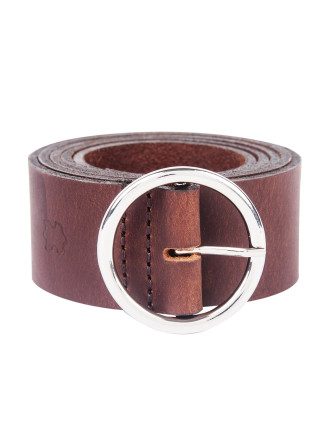 Leather Round Buckle Belt