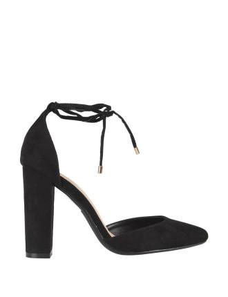 Lace Up Block Heel Court Shoes