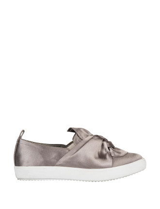Pointy Knot Satin Sneakers
