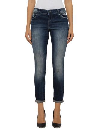 Mottled Slim Boyfriend Jeans