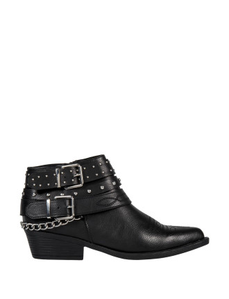 Studded Chain Trim Ankle Boots