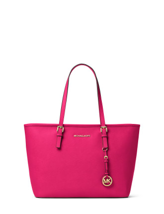 JET SET TRAVEL SAFFIANO LEATHER TOP-ZIP TOTE
