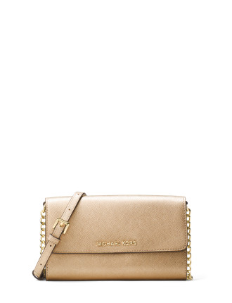 JET SET TRAVEL METALLIC LEATHER SMARTPHONE CROSSBODY