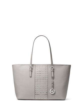 JET SET TRAVEL GROMMETED SAFFIANO LEATHER TOTE