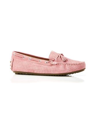 Daria Suede Mini Perf Loafer Pink
