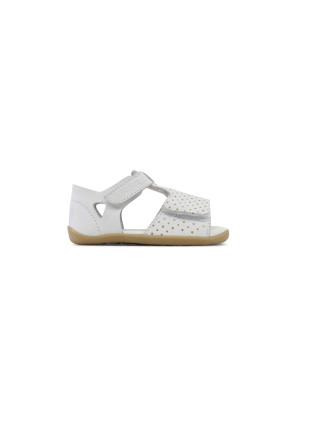 SU Mirror Open Sandal White with Gold Sp