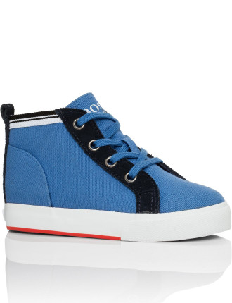 Lace Up High Top Trainer with White Rubber Sole