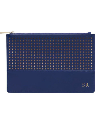 Midnight Navy Perforated Pouch