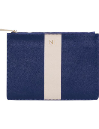 Midnight Navy Pouch With Pale Pink Stripe