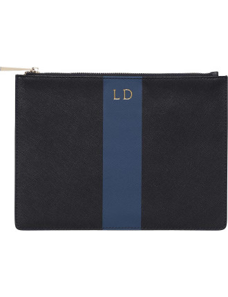 Black Pouch With Navy Strap