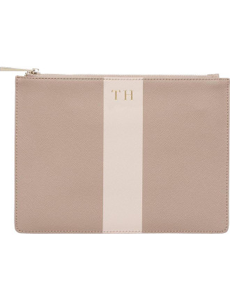 Taupe Pouch With Pink Stripe