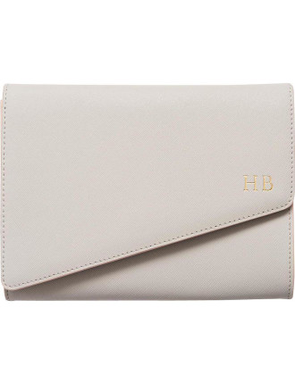 Storm Grey Asymmetric Clutch With Pale Pink Edge