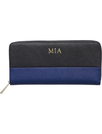 Black And Midnight Navy Colour Block Continental Wallet