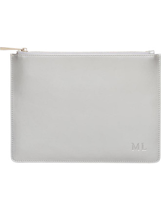 Grey Patent Pouch
