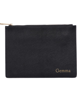 Black Pouch With Pale Pink Edge