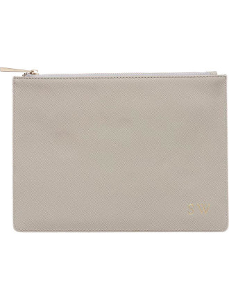 Storm Grey Pouch With Pale Pink Edge