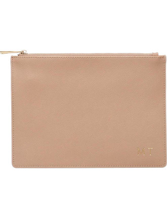 Taupe Pouch With Pale Pink Edge