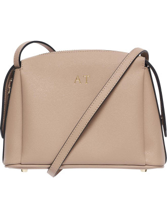 Taupe Structured Cross Body Bag