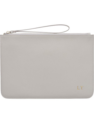 Large Mist Grey Pouch With Wrist Strap