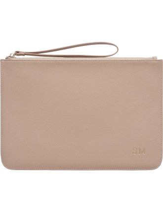 Large Taupe Pouch With Wrist Strap