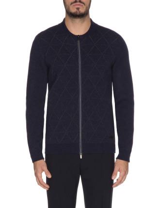 Wide Diamond Print Virgin Wool Bomber Style Knitted Jacket