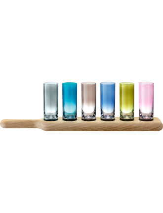 Paddle Vodka Set & Oak Paddle Assorted Colours 40cm