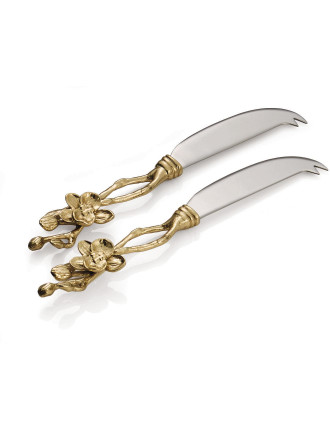 Golden Orchid Cheese Knife Set (Set Of 2)