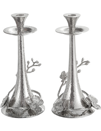 White Orchid Taper Candleholder Set S/2