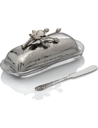 White Orchid Butter Dish W/Knf