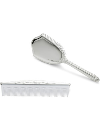 2-piece Brush and Comb Set Silver
