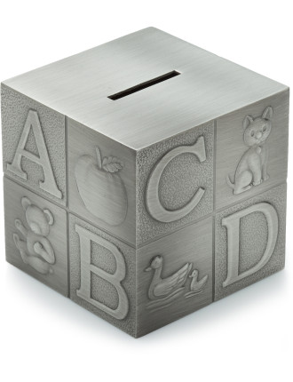 Pewter Money Box Alphabet Cube