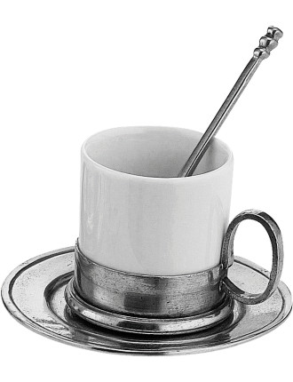Cup and Saucer with Spoon 10x7cm
