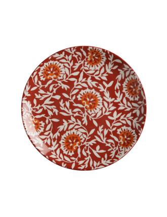 Boho Side Plate Damask Red 20cm