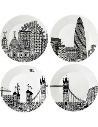 Charlene Mullen London Calling Plate Set of 4
