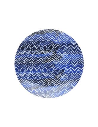 Shibori Blue Cheveron Side Plate 23cm