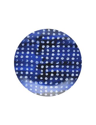 Shibori Blue Dot Side Plate 23cm