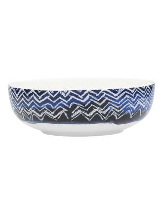 Shibori Blue Cheveron Bowl 16.5cm