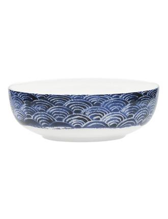 Shibori Blue Fan  Bowl 16.5cm