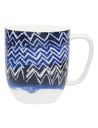 Shibori Blue Cheveron Mug