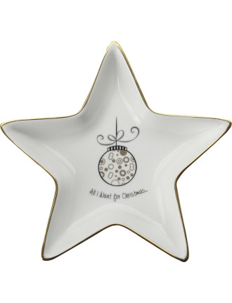 Mw All I Want For Christmas Star Dish 16cm Gb