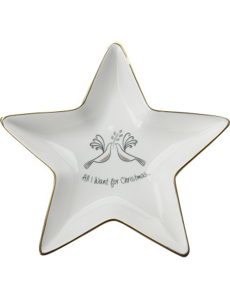 Mw All I Want For Christmas Star Dish 19.5cm Gb