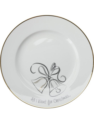 Mw All I Want For Christmas Cake Plate 19cm Bells Gb