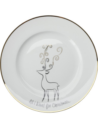 Mw All I Want For Christmas Cake Plate 19cm Reindeer Gb