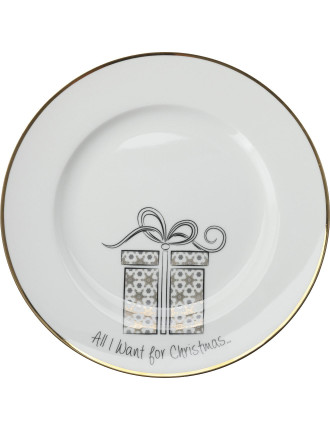 Mw All I Want For Christmas Cake Plate 19cm Present Gb