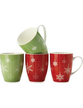 Mw Snowfall Mug 400ml Set Of 4 Gift Boxed