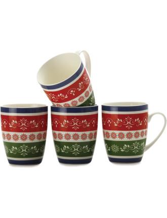 Mw Cafe Christmas Mug 400ml Set Of 4 Gift Boxed