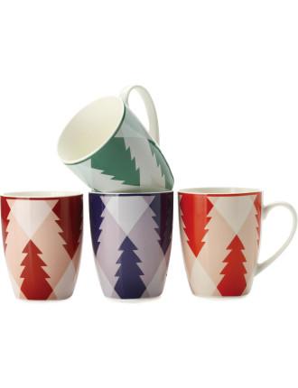 Mw Christmas Pines Mug 400ml Set Of 4 Cake Tin